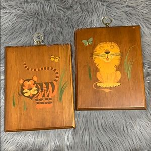 Vintage lion / tiger kids room wall art